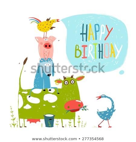 Feliz aniversário cartão animais de fazenda vetor desenho animado ilustração Foto stock © ddraw