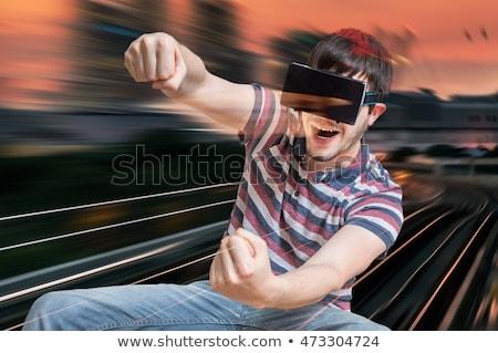 boldog · férfi · játszik · videojátékok · virtuális · valóság - stock fotó © deandrobot
