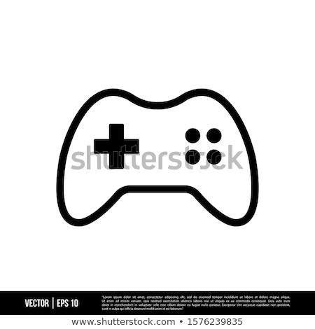 ストックフォト: ゲーム · アイコン · スタイル · 孤立した · 白