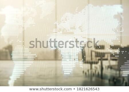 Világ kereskedelem tábla iroda zöld szöveg Stock fotó © tashatuvango
