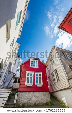 Vieux maison blanche Norvège concrètes construire village Photo stock © compuinfoto