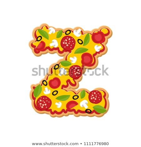 Letter Z pizza font. Italian meal alphabet. Lettring fast food Stock photo © popaukropa