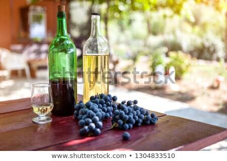 Botella casero vino blanco vidrio uvas uvas verdes Foto stock © DenisMArt