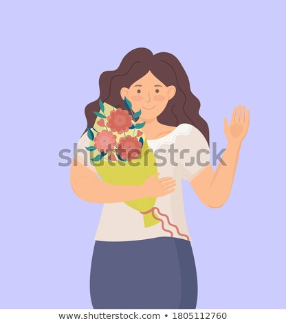 Smiling woman holds a big bouquet of flowers cartoon illustration Stock photo © tiKkraf69