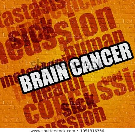 healthcare concept brain cancer on the yellow brickwall stock photo © tashatuvango