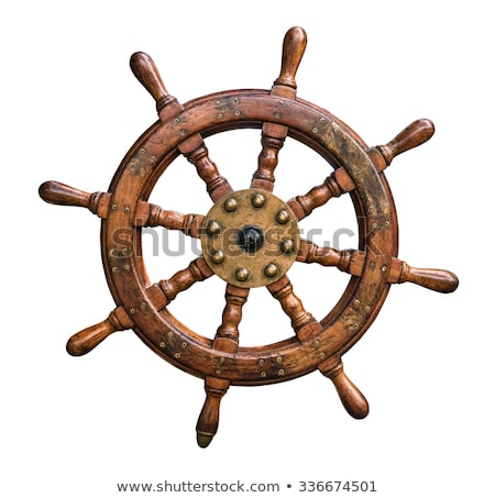ship steering wheel and yacht Stock photo © djdarkflower