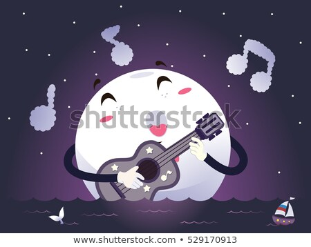 Mascot Moonlight Guitar Song Stock photo © lenm