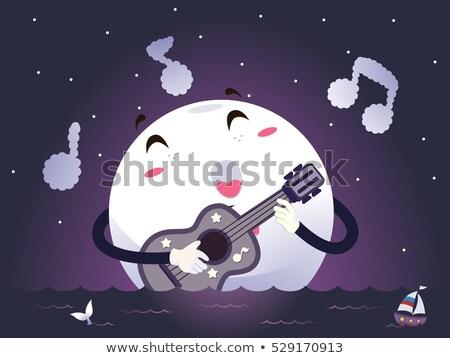 талисман лунный свет гитаре песня романтические иллюстрация Сток-фото © lenm