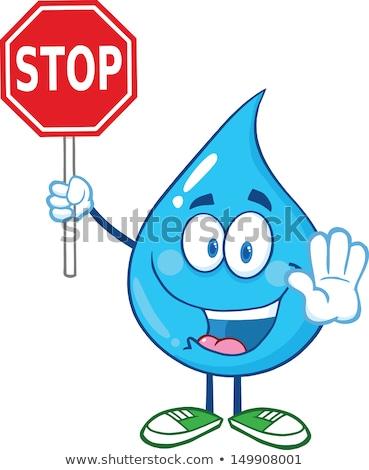 Gülen mavi su damlası karikatür maskot karakter Stok fotoğraf © hittoon
