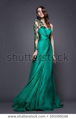 brunette · lang · avond · toga · elegante - stockfoto © feedough