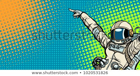 астронавт женщину вверх Поп-арт ретро Сток-фото © studiostoks