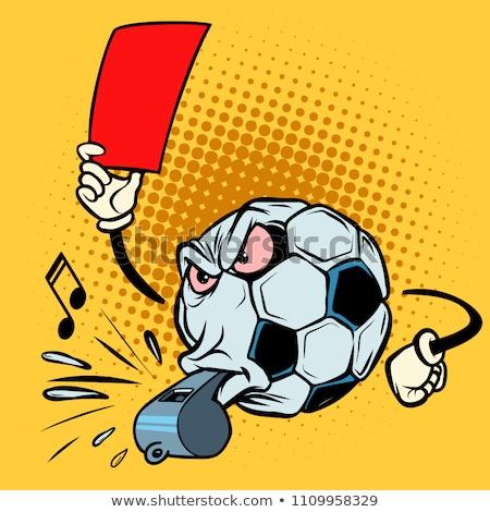 красный карт свистеть футбола футбольным мячом Сток-фото © rogistok