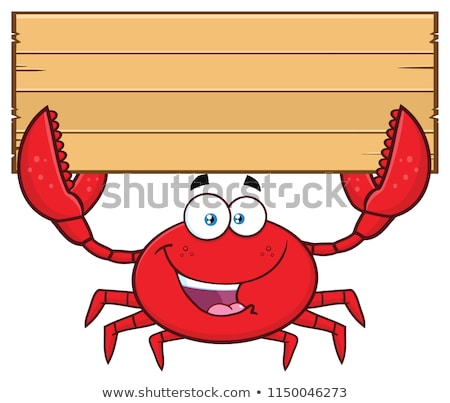 Fericit crab mascota de desene animate Imagine de stoc © hittoon