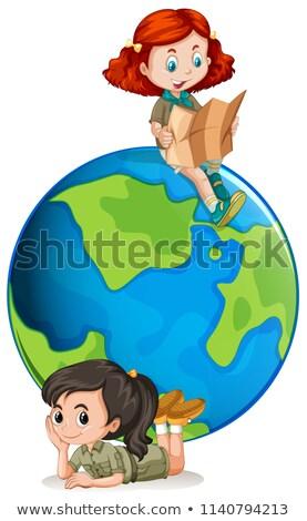 Jong meisje wereldbol illustratie gelukkig haren achtergrond Stockfoto © bluering