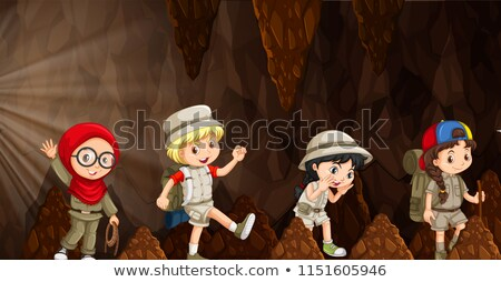 A group of international kids exploring the cave Stock photo © bluering