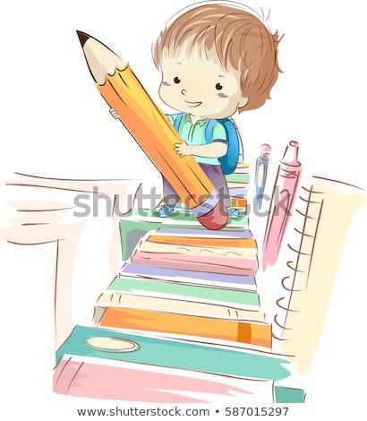Gyerek fiú diák ceruza könyv nyom Stock fotó © lenm