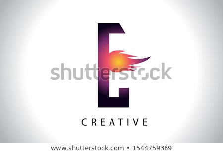 Magenta Letter E Shaped Fire Icon Vector Illustration Stock photo © cidepix