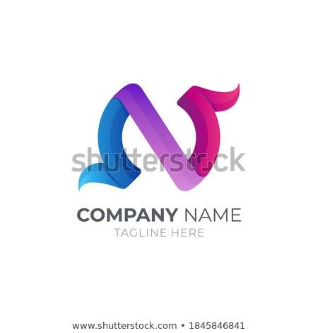 Lila réteges ikon n betű vektor illusztráció Stock fotó © cidepix