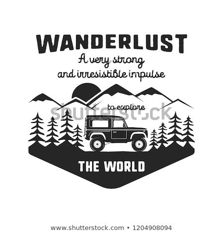 Wanderlust Logo Emblem. Vintage hand drawn black travel badge. Featuring old car riding through the  Stock photo © JeksonGraphics