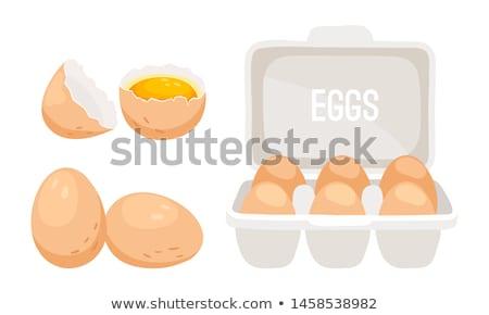 barna · tojások · karton · doboz · törött · tojás - stock fotó © FreeProd