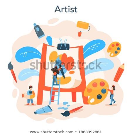 Projektant duży pędzlem projektowanie stron internetowych programowanie smartphone Zdjęcia stock © RAStudio