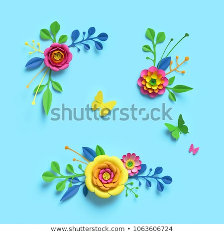 flores · da · primavera · conjunto · cartaz · rosa · folhas · amarelo - foto stock © robuart