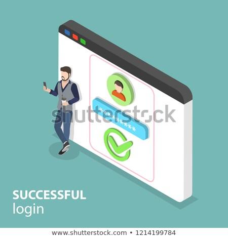 Isometric flat vector concept of successful login. Stock photo © TarikVision
