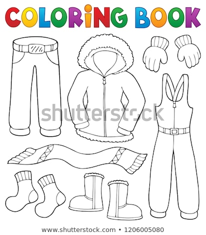 Coloring book winter clothes topic set 1 Stock photo © clairev