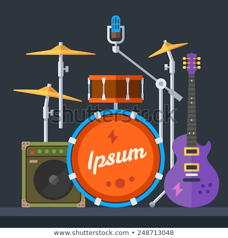 flat music instruments banners concept vector illustrator design stock photo © linetale