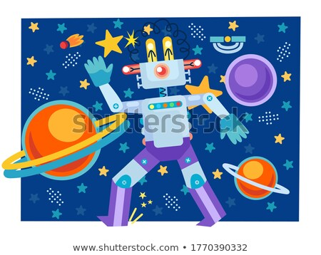 Cartoon Surprised Spaceman Robot Stock photo © cthoman