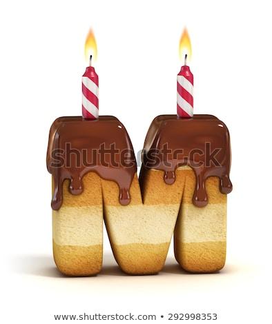 Rajz m betű születésnap illusztráció gyertya konfetti Stock fotó © cthoman