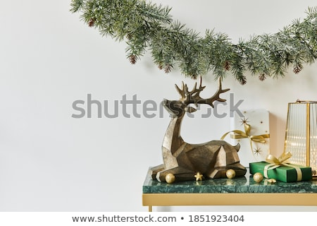 santa and deer with gifts for christmas stock photo © liolle