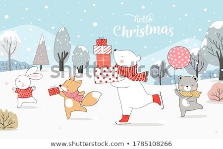 Christmas Polar Bear with Red Scarf. Stock photo © ori-artiste