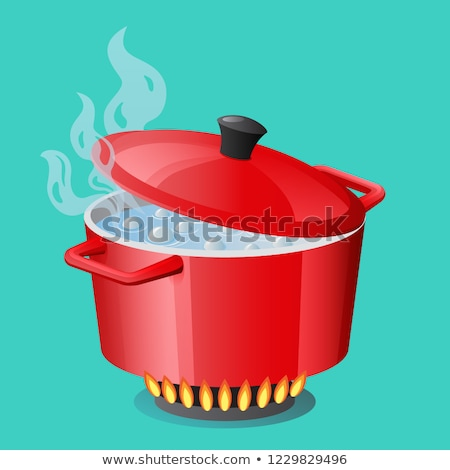 Red pan, saucepan, pot, casserole, cooker, stewpan with boiling water and closed pan lid vector isol Stock photo © MarySan