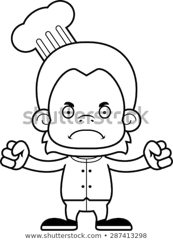 Cartoon Angry Chef Orangutan Stock photo © cthoman