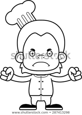cartoon angry chef orangutan stock photo © cthoman