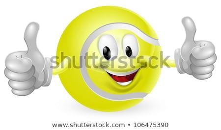 Cute balle de tennis mascotte dessinée personnage pouce up Photo stock © hittoon