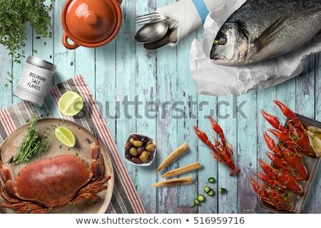морепродуктов ресторан шаблон иллюстрация рыбы дизайна Сток-фото © bluering