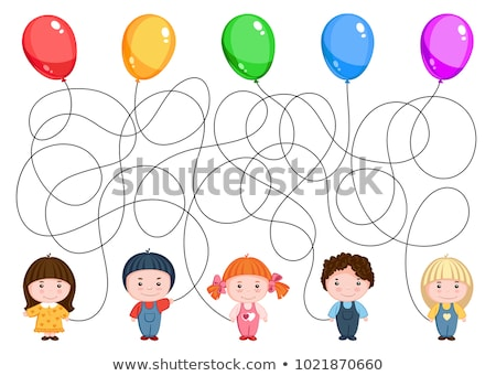 cartoon maze game with boy and girl stock photo © izakowski