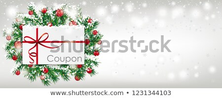 Christmas Coupon Green Twigs Snowfall Red Baubles Banner Stock photo © limbi007