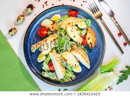 caesar · salade · keramische · kom · selectieve · aandacht · stijl · vintage - stockfoto © zoryanchik