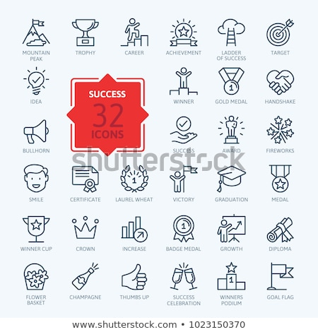 ribbon and crown icons set vector illustration stock photo © robuart