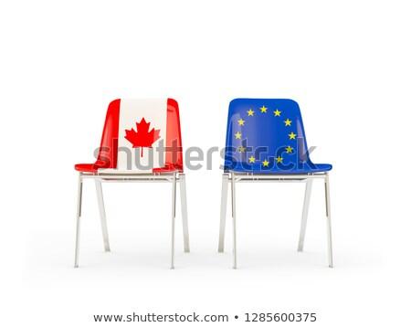 Dos sillas banderas Canadá ue aislado Foto stock © MikhailMishchenko