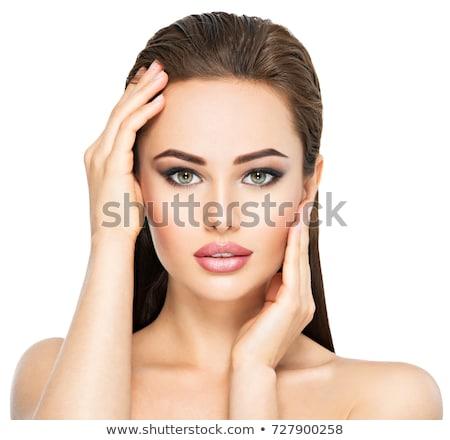Káprázatos fiatal barna hajú női arc portré szépség Stock fotó © NeonShot