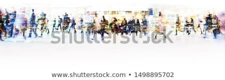 üzletember · sétál · zsúfolt · utca · fiatal · aktatáska - stock fotó © ra2studio