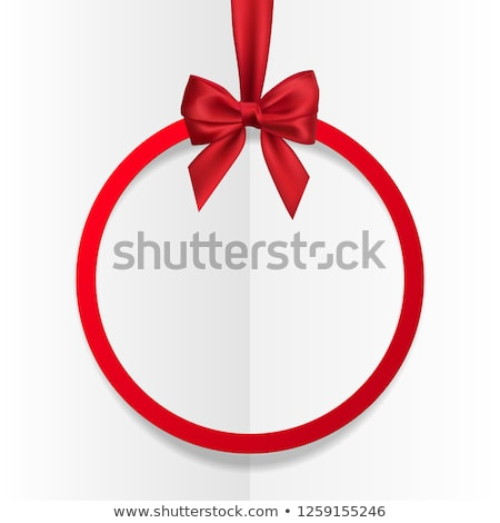 Bright holiday round frame banner hanging with red ribbon and silky bow  on white background. Vector Stock photo © olehsvetiukha