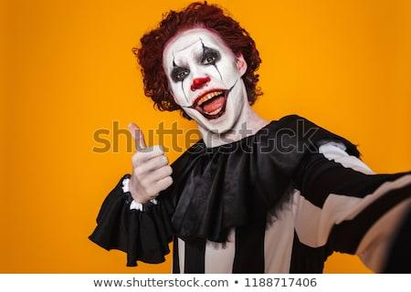 Stockfoto: Opgewonden · clown · man · 20s · zwarte
