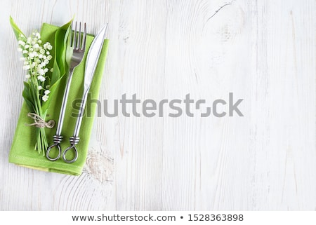 Stok fotoğraf: Bahar · tablo · çatal · bıçak · takımı · ahşap · çatal · plaka
