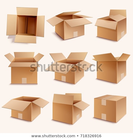 closed parcel icons from side back and front view stock photo © robuart