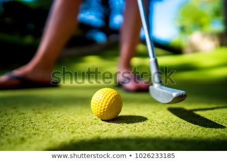 Mini Golf yellow ball on green grass at sunset Stock photo © cookelma